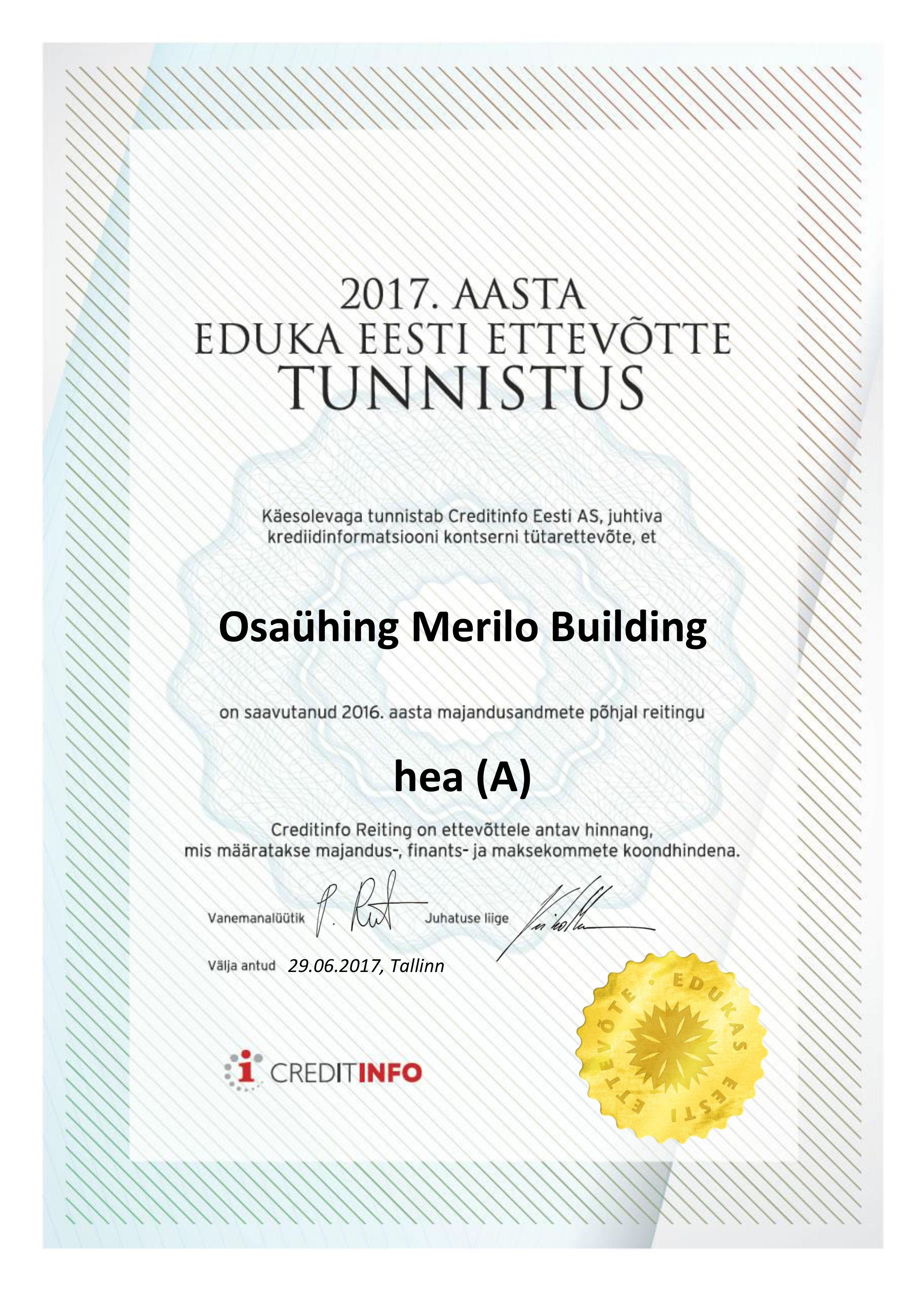 UTF-8''Osaühing Merilo Building sertEST